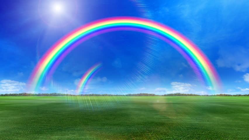 Rainbow over green grass. | Shutterstock HD Video #686914