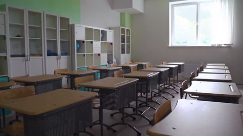 Panoramic shot of empty classroom