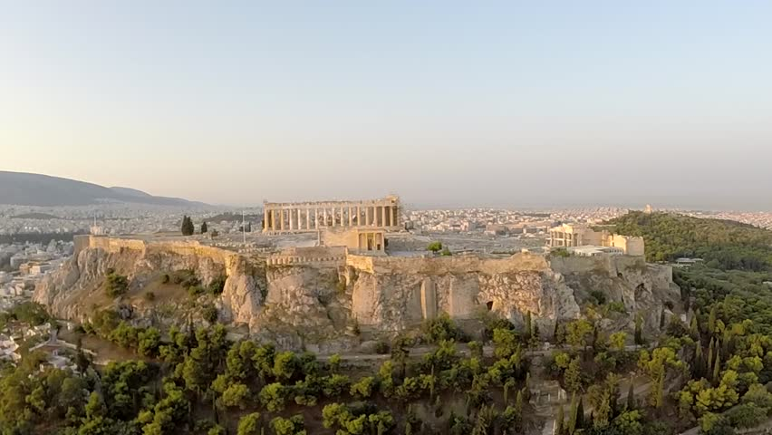 Acropolis Parthenon in Athens Greece Aerial view Zoomed in