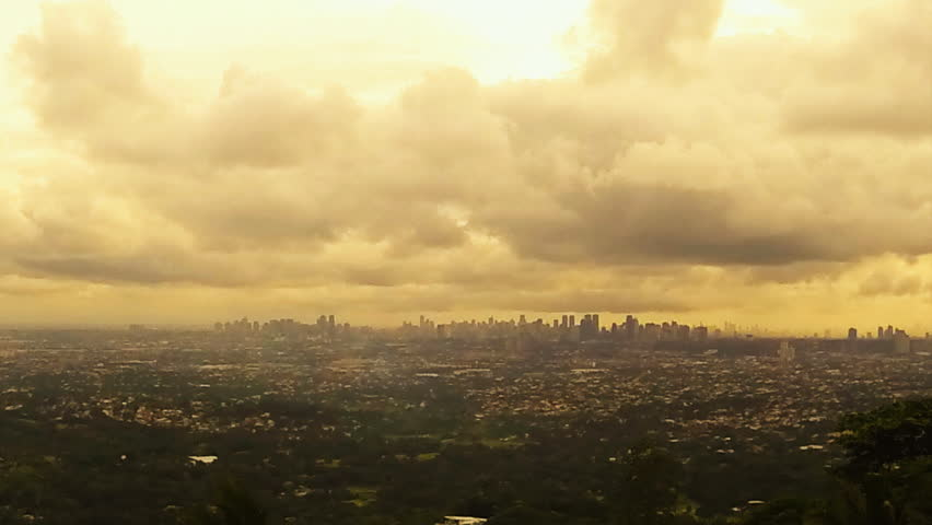 Manila skyline panning timelapse with moving clouds