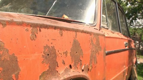 Detail Of Rusty Old Car, Orange, Decay, Aged, Vintage, Lada, Chrome, Pan