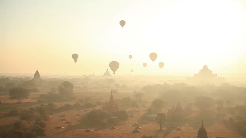 Time Lapse. Air balloons over the ancient Buddhist temples in Bagan, Myanmar. #6950737