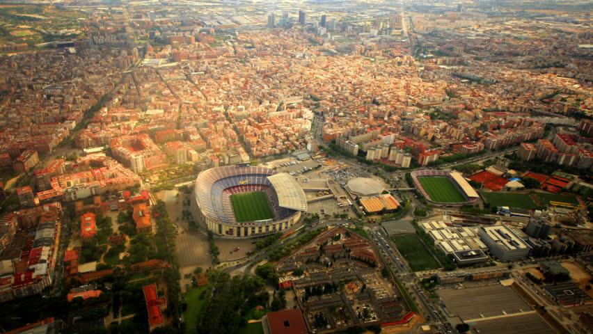 BARCELONA, SPAIN, AUGUST 2013 Aerial view over Camp Nou, Barcelonas famous football stadium.