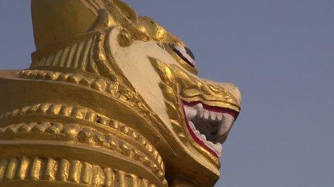 ornate lion sculpture near buddhist stupa in Kushinagar, India