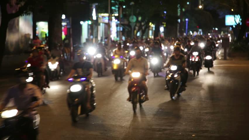 motorbike scooter traffic, ho chi minh city, vietnam