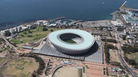Aerial footage of Green Point Stadium Cape Town in South Africa