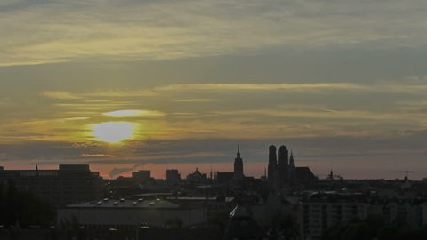 Timelapse Munich Skyline Sunset with Frauenkirche Cathedral