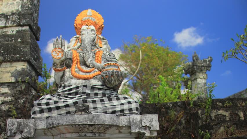 Ganesha the Hindu Elephant Deity at a Balinese Temple (Cloud Lapse)