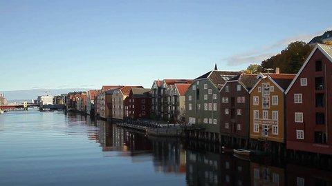 TRONDHEIM, NORWAY, JANUARY 2014 Gamle bybro, old city bridge in Trondheim, Norway.
