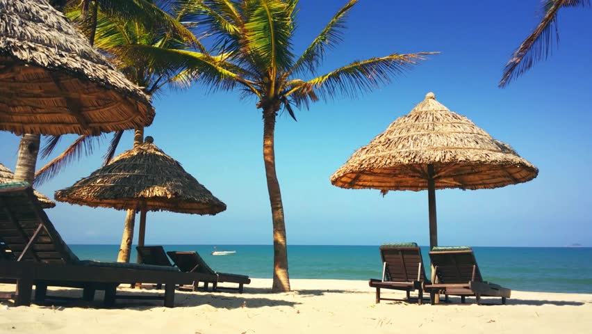 Tropical Beach With Palm Trees Umbrella And Chairs Hot Summer