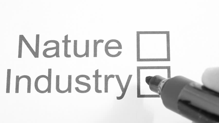 Nature or Industry ? (Checking NATURE) - symbol for protection of nature, HD 1920x1080