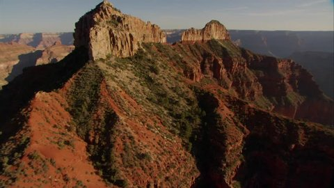 CIRCA 2010s - Beautiful aerial over Grand Canyon rim at dawn.