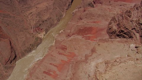 CIRCA 2010s - Slow aerial shot looking straight down at the Colorado River in the Grand Canyon.