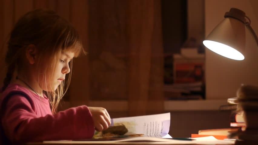 lovely girl doing home lessons