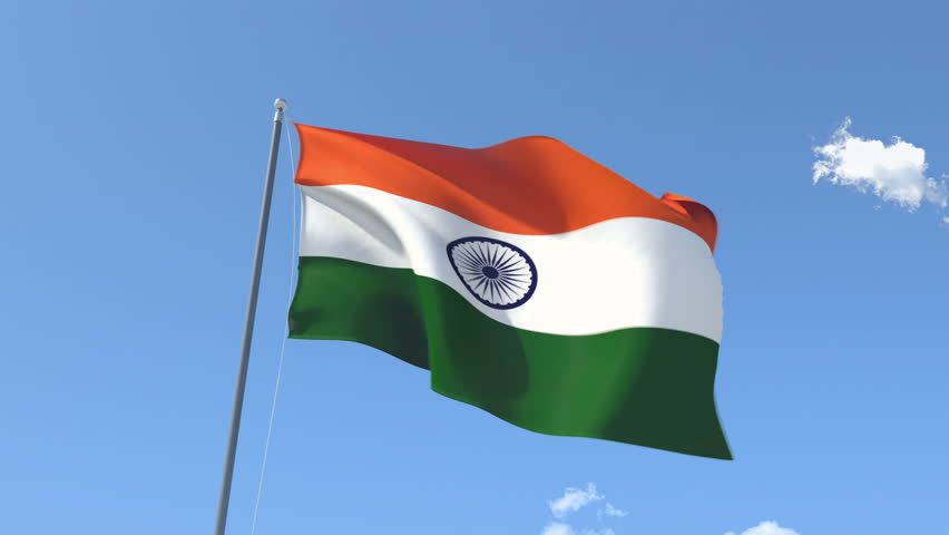 Indian Animated Flag Waving: HD 1080p Clip Of A Slow Motion Waving Flag Of India