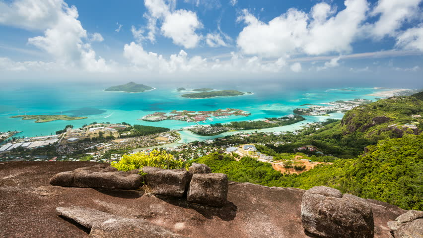 Timelapse sequence from Mount Copolia in Mahe, Seychelles with view to the coast and some islands.