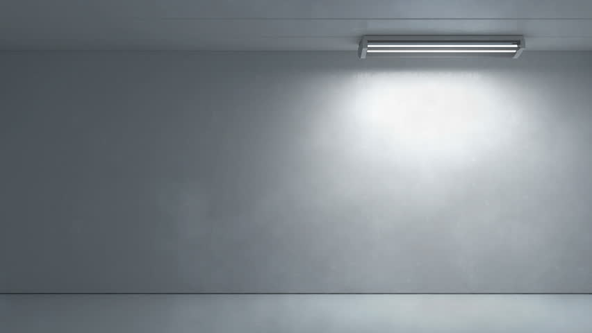 White Room 3d Render With Flickering Lamp At The Top Stock Footage ...