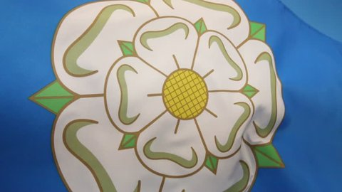 The flag used to represent Yorkshire is a White Rose of York on a blue background. The design dates from the 1960s.