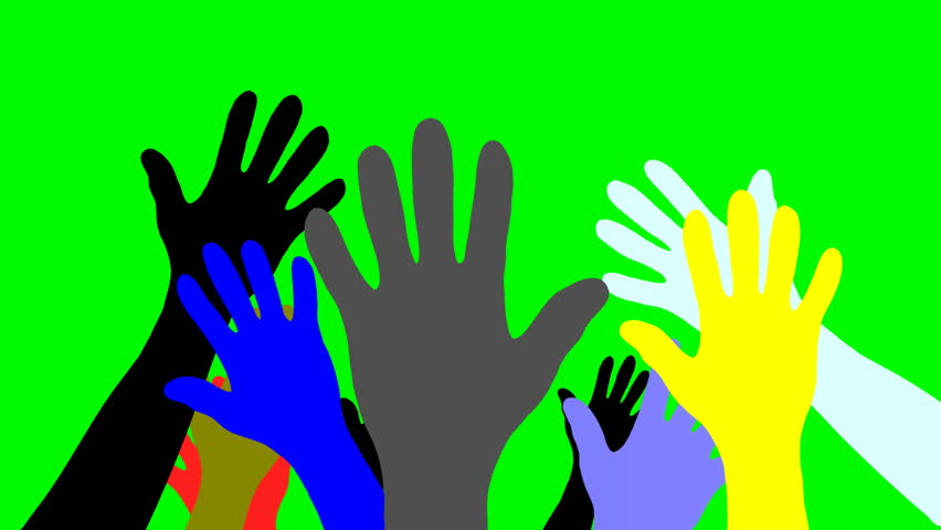 Group Of Raised Colorful Hands Welcoming Others And Waving ...