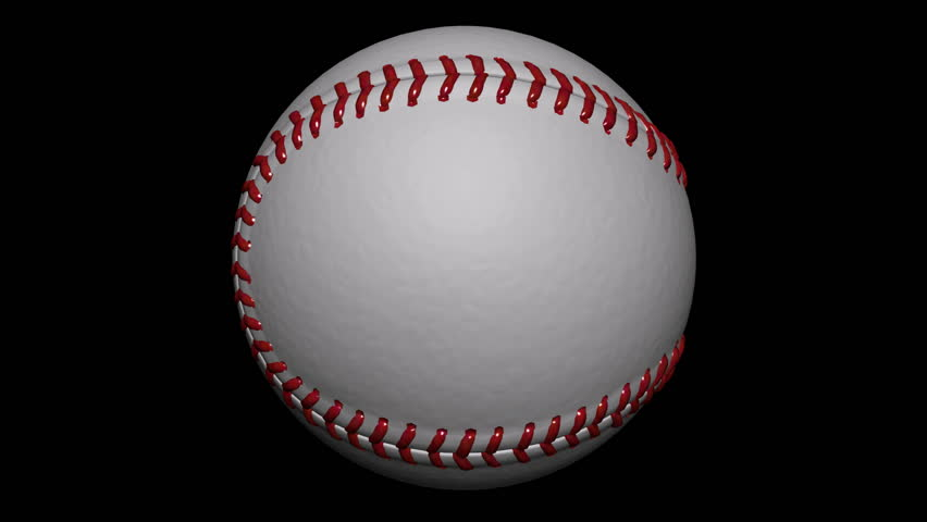 Seamless loop Baseball Ball Animation 1. Alpha matte, isolated on black