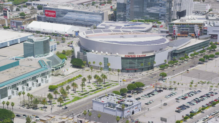 LOS ANGELES - CIRCA 2014 Aerial view of the Staples Center in downtown Los Angeles City. LA USA.