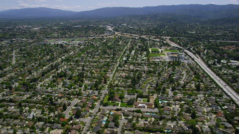Aerial view of Silicon Valley area in California
