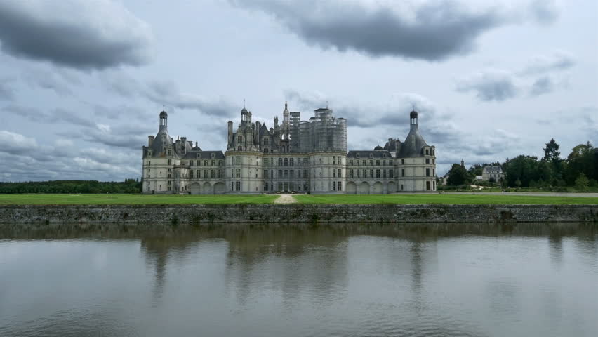 CHAMBORD FRANCE - JULY 2014: Rear view of the Chateau de Chambord  in Chambord France. The enormous castle is the one of the most visited sites in France.