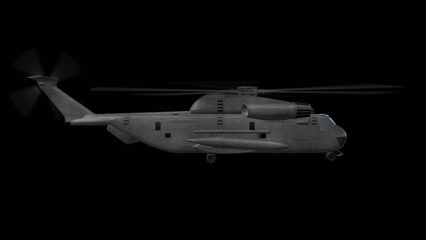 Ch-53 Helicopter Hovering 3D animation of Military Helicopter Hovering with alpha channel and 4K resolution in loop mode