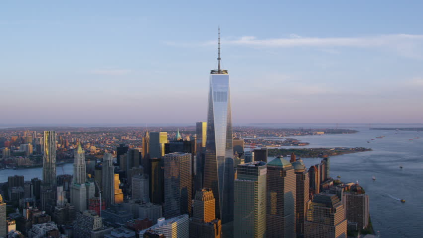 Aerial view of One World Trade Center New York City known as The Freedom Tower at Ground Zero