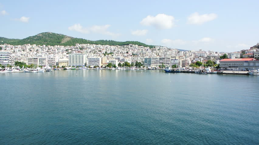 Kavala city and port in Greece as seen from the sea