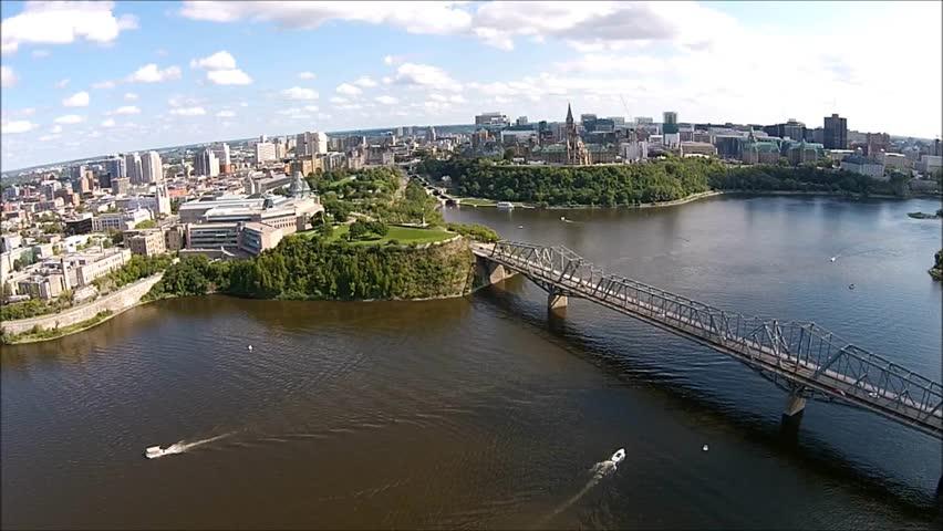 Ottawa Parliament Alexandra Bridge Aerial View | Shutterstock HD Video #7280857