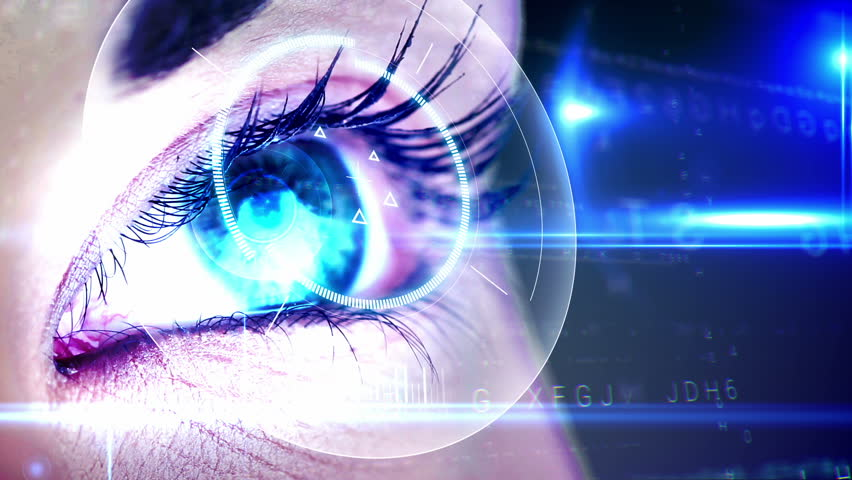 Digital animation of Eye looking at holographic interface | Shutterstock HD Video #7286377