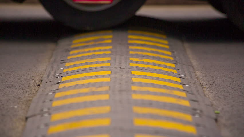Speed Bump on the Road. HD 1080p.