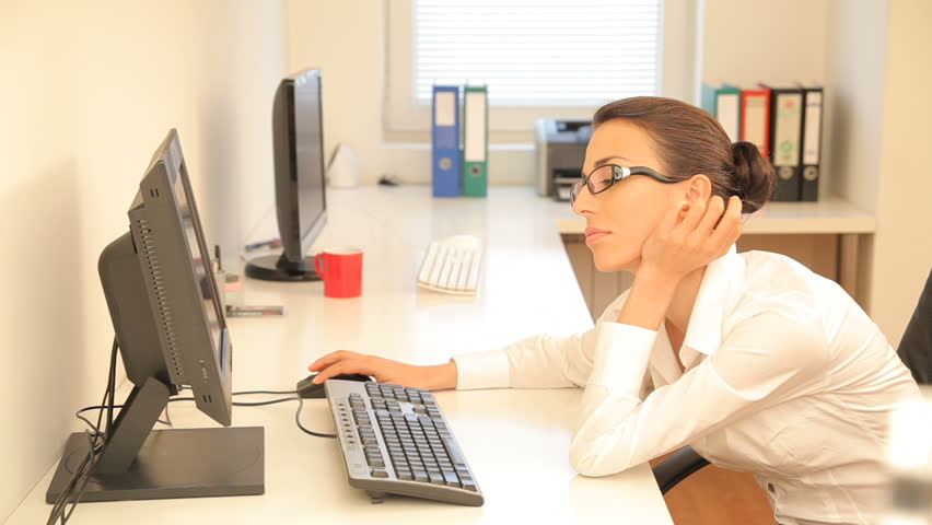 Beautiful young woman working