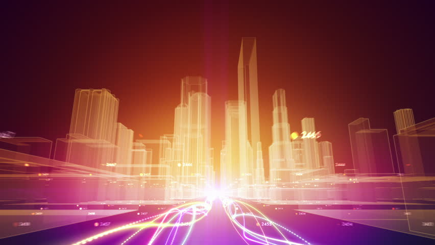 Abstract animation of fiber optic cables carrying information toward wireframe city buildings | Shutterstock HD Video #7304617