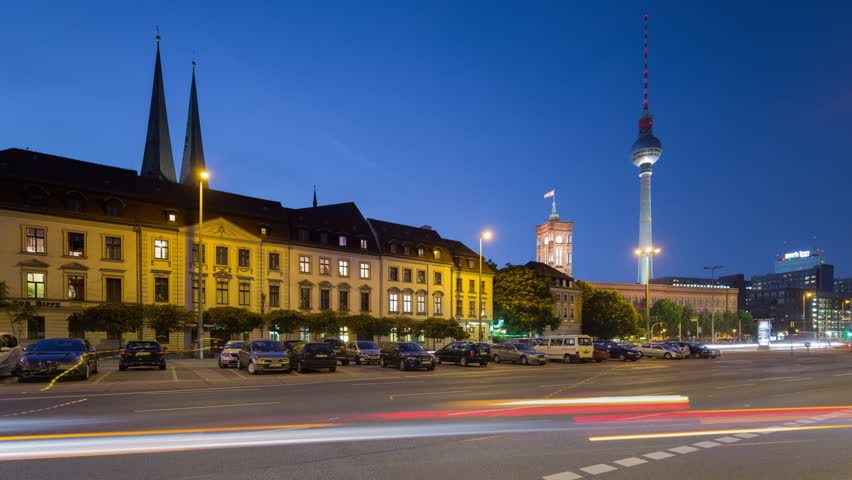 Berlin Skyline Cityscape Timelapse with dynamic Traffic on Street in 4K UHD and 1080p Full HD, German Capital