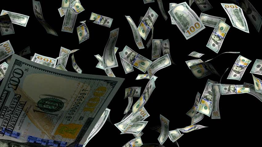 New Hundred dollar bills, Money burst, with alpha matte. | Shutterstock HD Video #736537