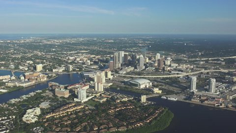 TAMPA FLORIDA AERIAL - CIRCA 2014: The Tampa skyline looking North, downtown, aerial flyby on a clear morning. 4k source