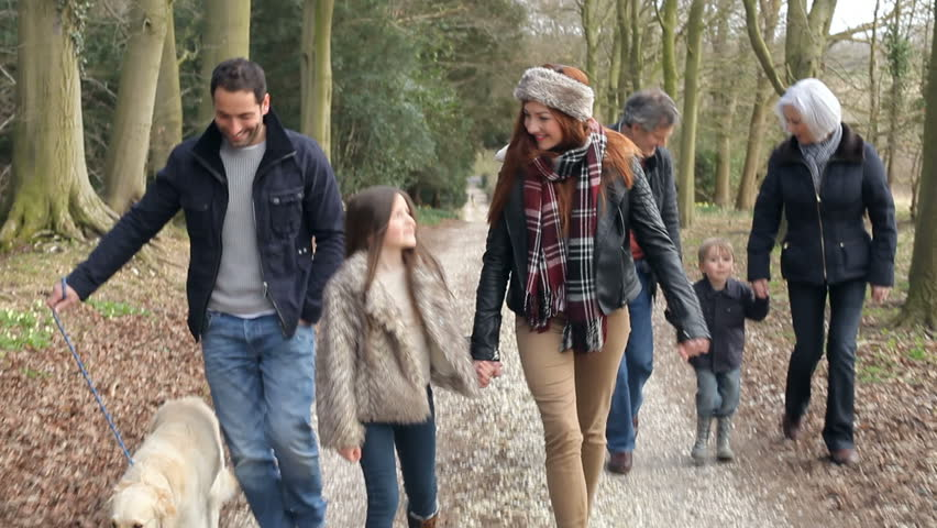 Multi Generation Family On Countryside Walk With Dog