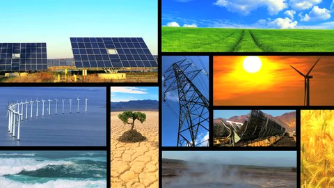 Montage collection of images showing environmental damage & clean renewable & sustainable energy sources