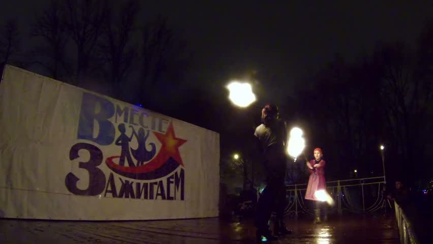 SAINT-PETERSBURG, RUSSIA - NOVEMBER 21, 2013: Fire show in the Park | Shutterstock HD Video #7428727