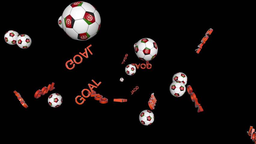 Afghanistan soccer balls random position, on black background   Shutterstock HD Video #7449787