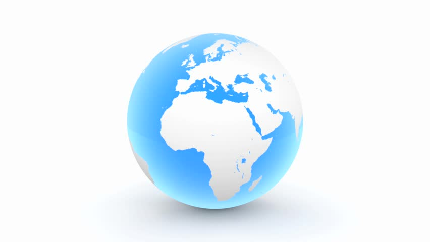 a turning blue 3D globe with glossy blue oceans