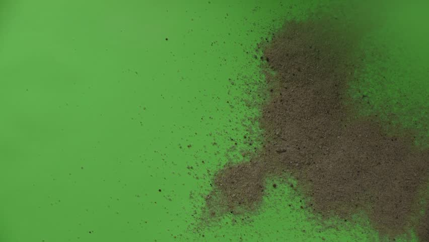 sand is blown, sand is poured, sand wipes, sand flies, sand turn, Green-Screan, chroma key