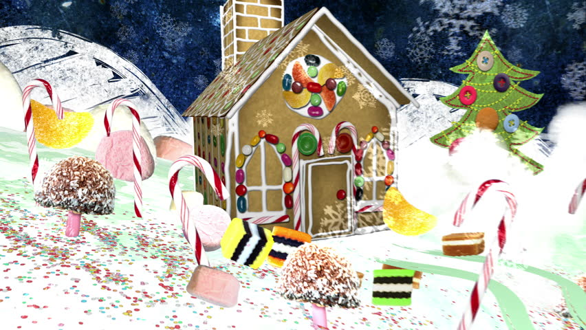 Christmas Eve - Reindeer and Gingerbread House, Merry Christmas ending. Quirky mixed media collage animation. Also see my portfolio for an extended looping version. In 4K Ultra HD and smaller sizes.
