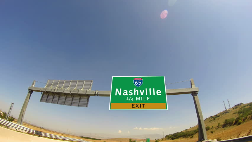 4K Driving on Highway/interstate, Exit sign of the City Of Nashville, Tennessee
