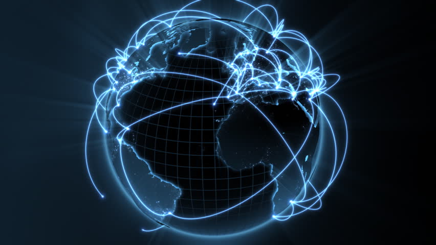 3d animation of a growing network across the world - blue version - see clip ID 34874662 for new and improved 4K version - HD stock footage clip