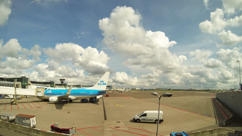 SCHIPOL AIRPORT - August 15: 4k time-lapse of plane arriving at Schipol airport in Netherlands on August 15th 2014