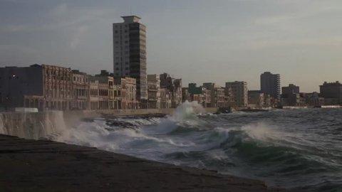 Waves in the malecon, La havana, Cuba