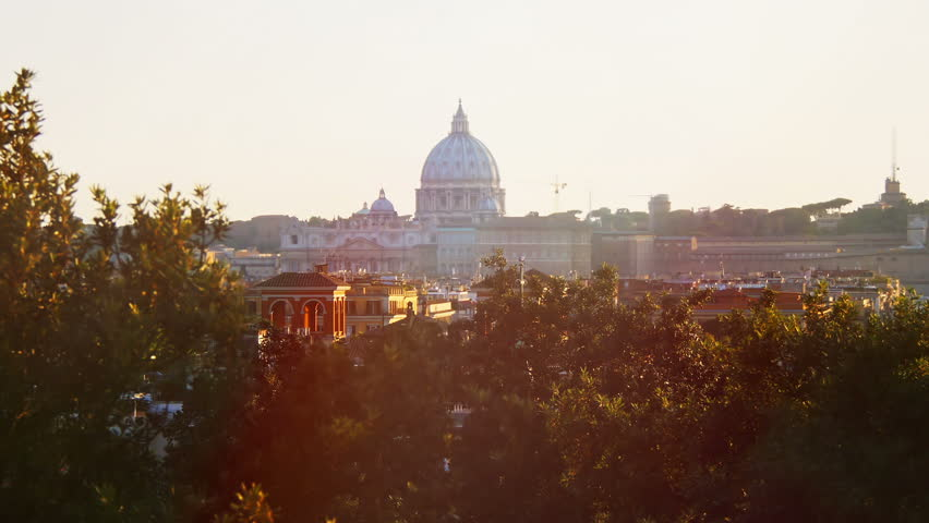 Sunset views of St. Peter's Basilica in Rome: Vatican, Christianity, 4k, pope   Shutterstock HD Video #7538317